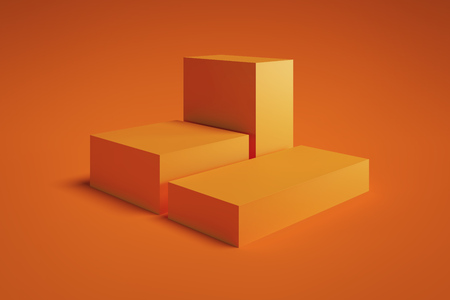 Foto de Modern Showcase with empty space on pedestal on orange background. 3d rendering. Minimalism conept - Imagen libre de derechos
