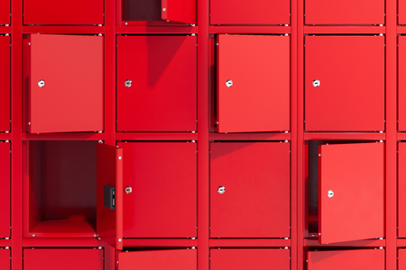Photo pour Safe deposit boxes with switched-on light. Safety closets. 3d rendering - image libre de droit