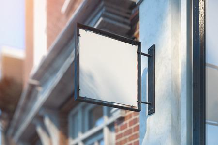 Photo pour Blank store signboard mockup. Empty shop signage. Street sign, 3d rendering. - image libre de droit