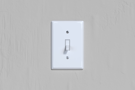 Foto de On and Off switch. Light switch on bright wall. 3d rendering. - Imagen libre de derechos