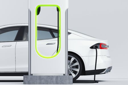 Photo pour Electric white modern car near Electric car charging station. 3d rendering. - image libre de droit