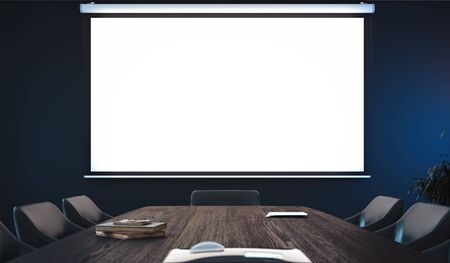 Photo pour Projector screen canvas in modern conference room. 3d rendering. - image libre de droit