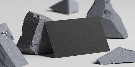 Foto de Close up of black blank business card near broken concrete , 3d rendering. Empty space. Copy space. - Imagen libre de derechos