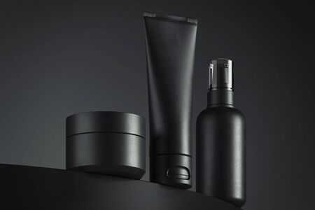 Foto de Cosmetic Bottle Set for liquid, cream, gel, lotion. Beauty product package, blank templates of containers. 3d rendering - Imagen libre de derechos