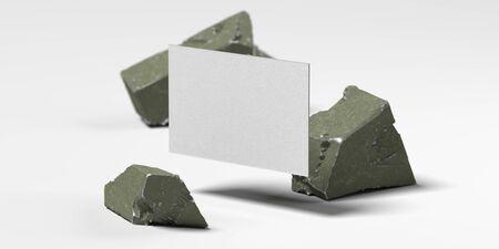 Photo pour Close up of white levitating blank business card near broken concrete , 3d rendering. Empty space. Copy space. - image libre de droit