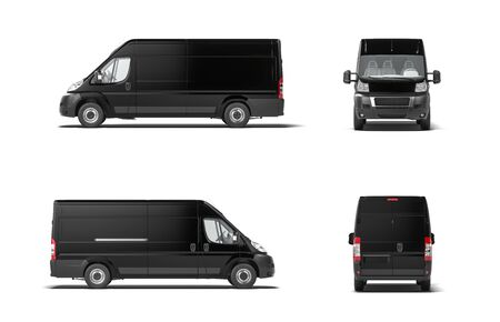 Foto de Modern black delivery truck van on white background. 3d rendering. Side view. - Imagen libre de derechos