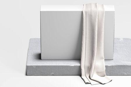 Photo pour Close up of white blank cardboard box on concrete pedestal, showcase. 3d rendering. Empty space. Copy space. - image libre de droit