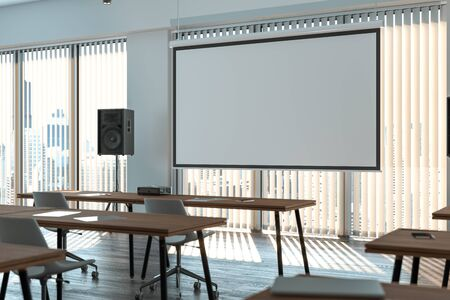 Photo for Projector screen canvas in modern conference room with big windows. 3d rendering. - Royalty Free Image