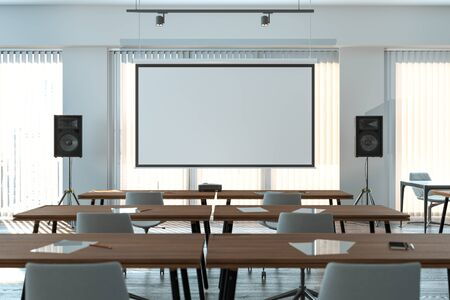 Photo for Projector screen canvas in modern conference room with big windows. 3d rendering. Front view. - Royalty Free Image