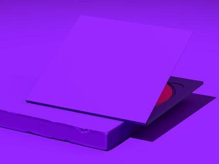 Foto de Opened compact disc blank box case for branding design. CD on violet showcase. 3d rendering - Imagen libre de derechos