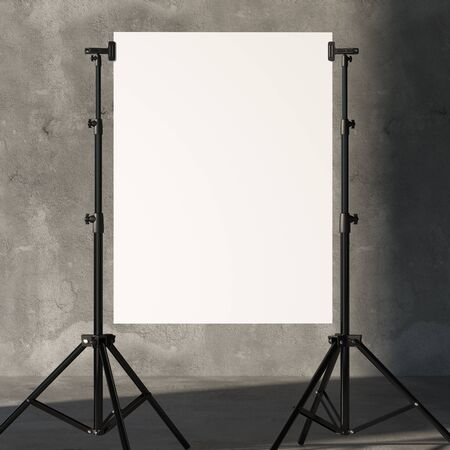 Photo for Tripods Holding Blank White Poster In Modern Photo Studio. 3D Rendering. - Royalty Free Image