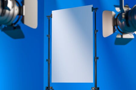 Photo for Tripods Holding Blank White Poster Illuminated By Spotlights In Photo Studio With Blue Background. 3D Rendering. - Royalty Free Image