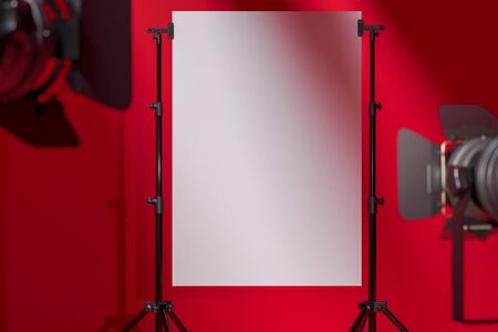 Photo for Tripods Holding Blank White Poster In Modern Photo Studio With Red Background. 3D Rendering. - Royalty Free Image
