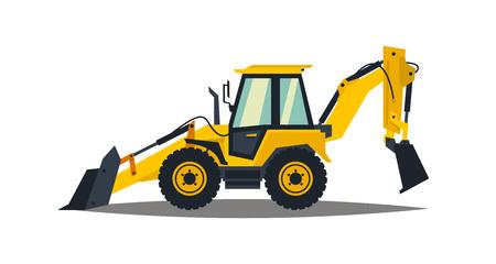 Illustration pour Yellow backhoe loader on a white background. Construction machinery. Special equipment. Vector illustration. - image libre de droit