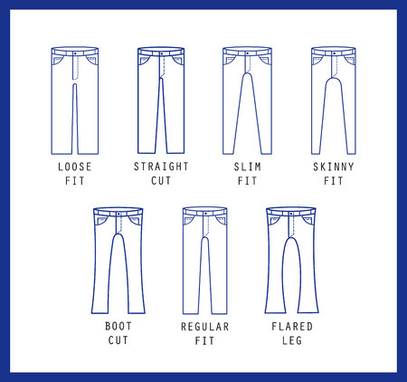 Illustration pour Denim fit icon set. Different type of jeans and trousers. Line vector icon silhouette - image libre de droit