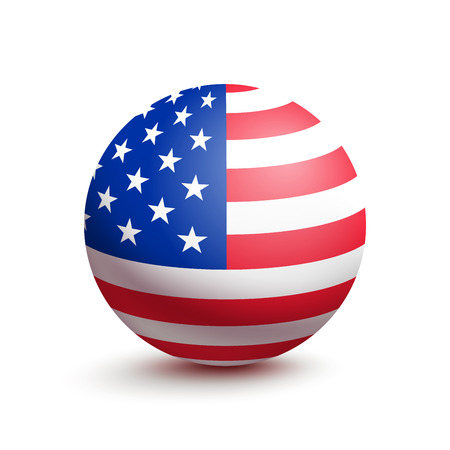 Illustrazione per Flag of USA in the form of a ball isolated on white background. Vector illustration of the United States of America - Immagini Royalty Free