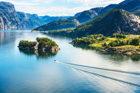 Photo pour Norwegian fjord and mountains in summer. Lysefjord, Norway - image libre de droit