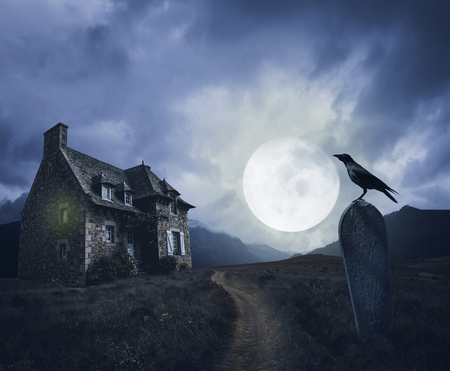 Foto de Apocalyptic Halloween scenery with old house, grave and raven - Imagen libre de derechos