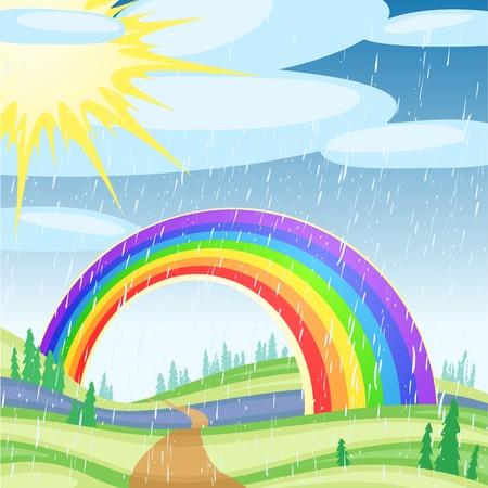 Rainbow against the solar blue sky with clouds