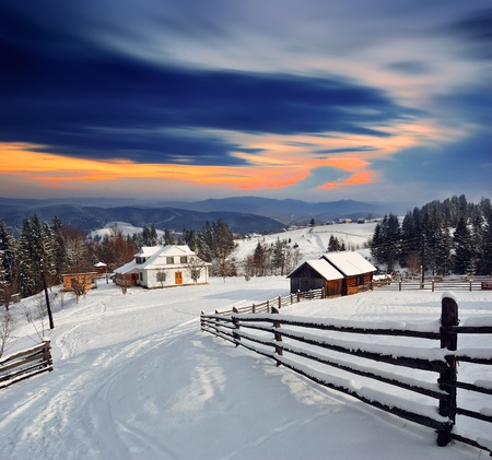 Photo for Winter landscape. Mountain village in the Ukrainian Carpathians. - Royalty Free Image