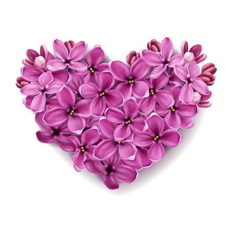 Photo pour Flowers of a lilac in the form of a heart. An illustration on a theme of Valentine's day.  - image libre de droit