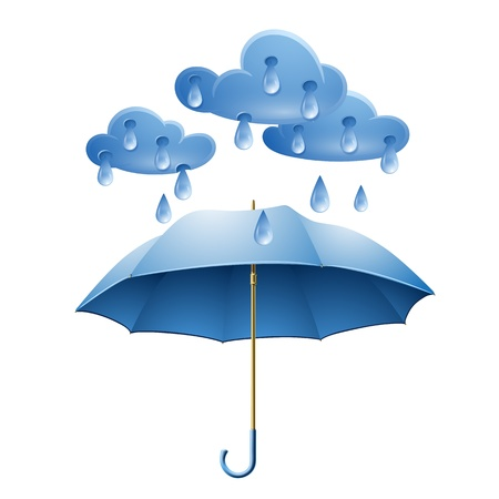Illustration pour Cloud with rain drops and blue umbrella isolated on white background - image libre de droit