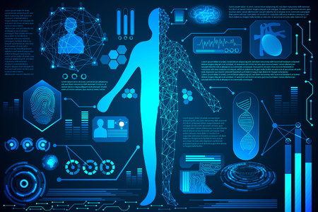 Illustration pour Abstract technology concept human body digital health care, interface of health analysis and scan body to verify identity ,finger print ,energy for world future design on hi tech background - image libre de droit