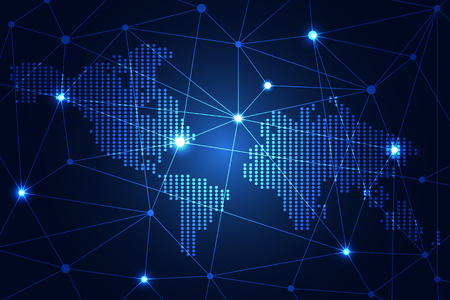 Illustration pour Abstract technology science concept map dot digital link on hi-tech blue background. - image libre de droit