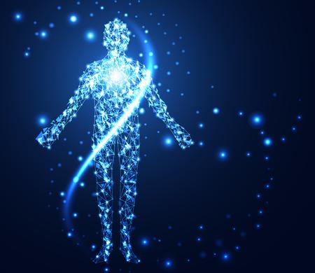 Illustration pour Abstract technology concept human digital link network on hi-tech background. - image libre de droit