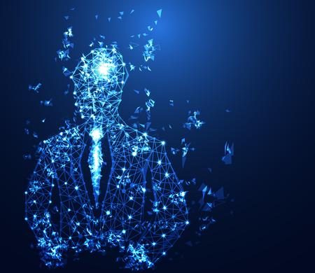Illustration pour abstract business technology concept business man digital link on hi tech background - image libre de droit