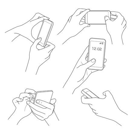 Illustration for Hand holding smartphone sketch vector illustrations - Royalty Free Image