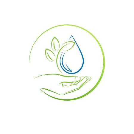 Ilustración de Hand, leaf and water drop, concept vector illustration - Imagen libre de derechos