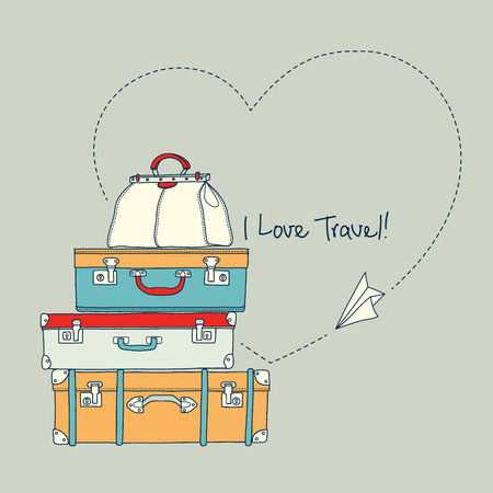 Illustration for Vector illustration of flying paper plane around travel suitcases - Royalty Free Image