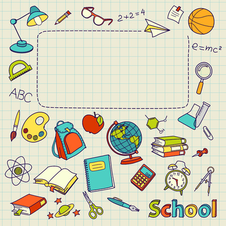 Foto de School doodle on the page with space for text vector - Imagen libre de derechos