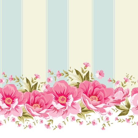 Illustration pour Ornate pink flower border with tile. Elegant Vintage wallpaper design. Vector illustration. - image libre de droit