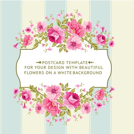 Illustration pour Border of flowers in vintage style. Vector illustration. - image libre de droit