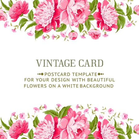 Illustration for Frame with peonies for vitage card  Vector illustration  - Royalty Free Image