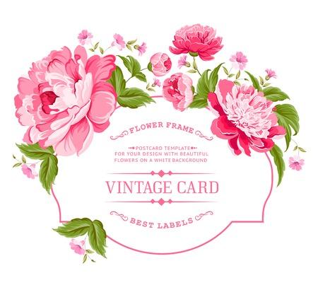 Ilustración de Luxurious invitation card of color peony flowers  Vector illustration  - Imagen libre de derechos
