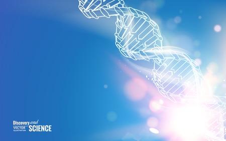 Photo pour DNA chain over abstract blue background. Vector illustration. - image libre de droit