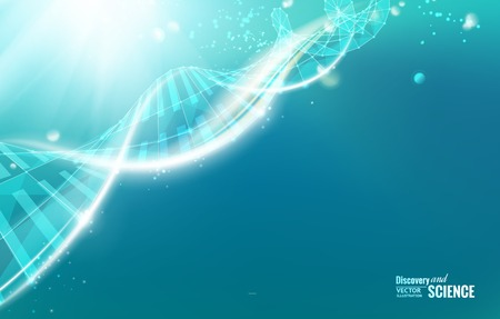 Illustration pour Science template for your card, wallpaper or banner with a DNA molecules of poligons. Vector illustration. - image libre de droit