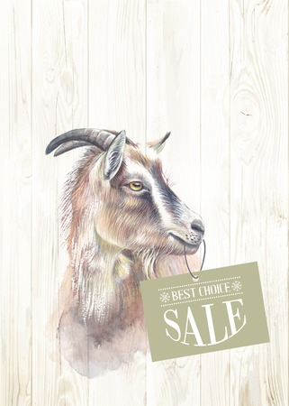 Illustration for New year painting goat with sale text. Vector illustration. - Royalty Free Image