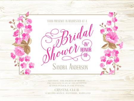 Illustration pour Bridal shower invitation with ivory background on wooden pattern, vintage floral invitation for spring or summer bridal shower. Vector illustration. - image libre de droit