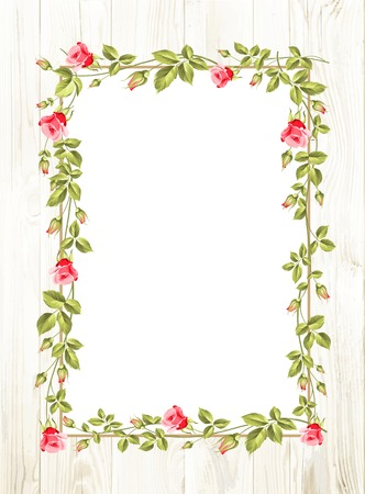 Ilustración de Wedding flower frame with flowers over white. Vector illustration. - Imagen libre de derechos