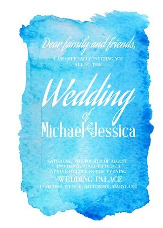 Illustration pour Wedding invitation card with blue watercolor blot on backdrop. Vector illustration. - image libre de droit