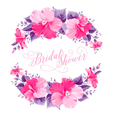 Ilustración de Red hibiscus flower wreath with calligraphic text for bridal shower invitation. Vector illustration. - Imagen libre de derechos