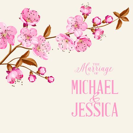Ilustración de Cherry blossom on gray backdrop. Flower invitation. Vector illustration. - Imagen libre de derechos