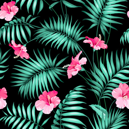 Illustration pour Tropical flowers and jungle.  - image libre de droit
