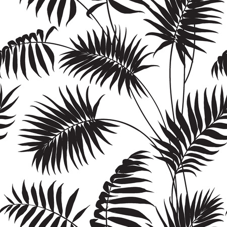 Illustration pour Tropical background Palm trees and hibiscus. - image libre de droit