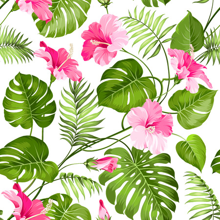 Illustration pour Seamless tropical flower. Blossom flowers for seamless pattern background. Vector illustration. - image libre de droit