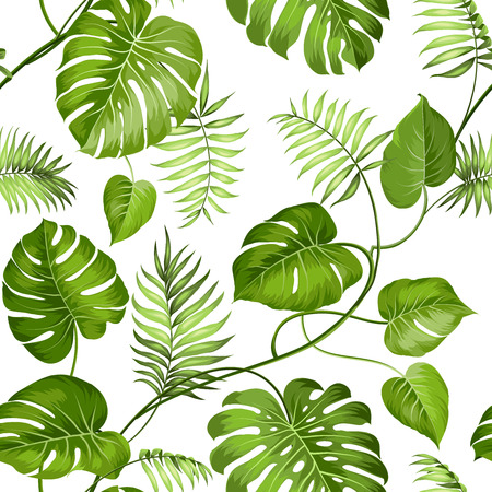 Tropical leaves design for fabric swatch. Vector illustration.